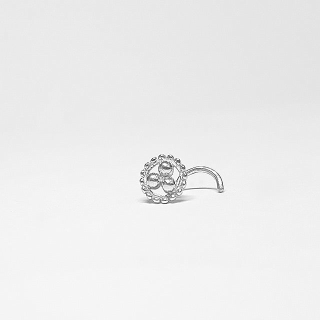 tribal nose stud screw silver