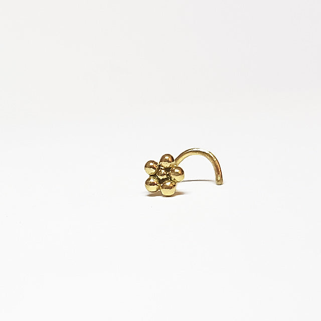 Hippie Heart  - 14k Gold Nose Stud - patapatajewelry