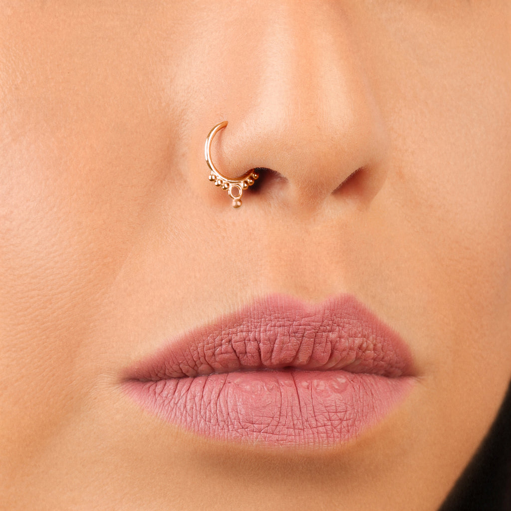 14k Rose Gold Nose Hoop | Tribal Beauty | PataPataJewelry