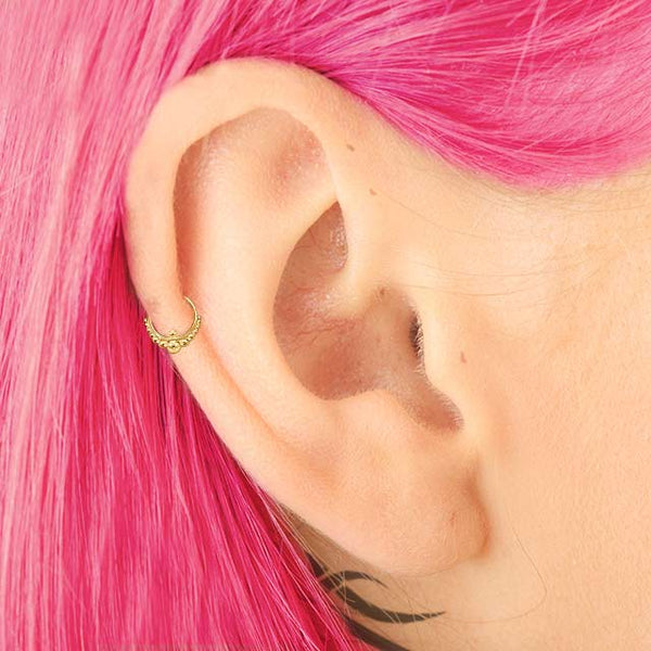 Indian Mystique - 14k Gold Cartilage Earring - patapatajewelry