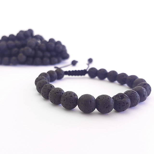 Set - Black Lava Stone Necklace & Bracelets