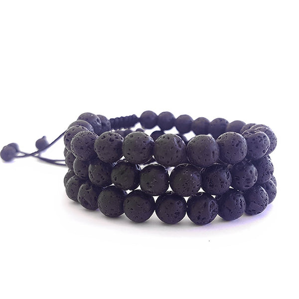 Black Lava Stone Bracelets- Set of 3