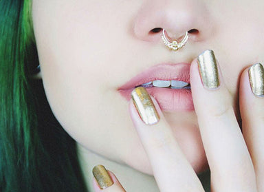14k Gold Septum Ring- Indian Mystique - patapatajewelry