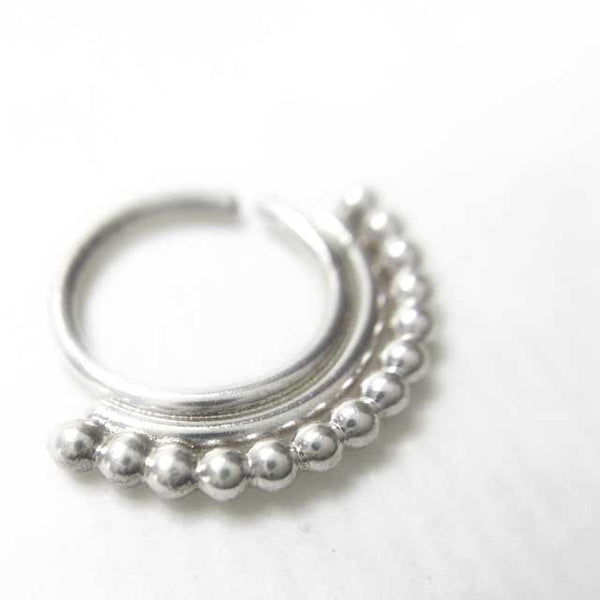 Midnight Breeze Silver Septum Ring - patapatajewelry