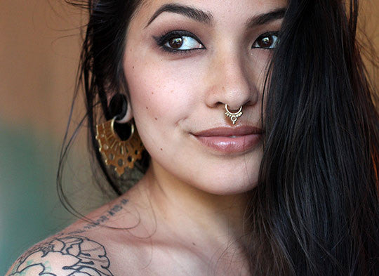 Gorgeous Cool Tribal Beauty 14k Gold Septum Piercing patapatajewelry