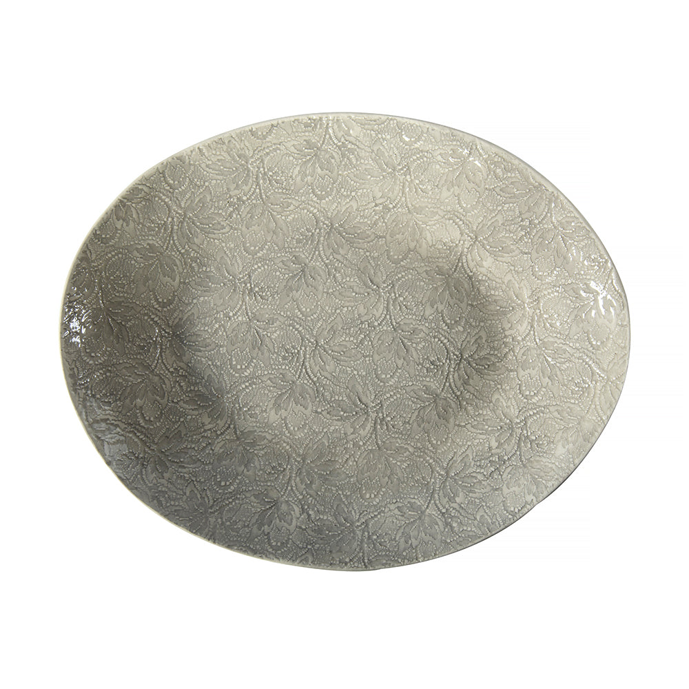 Pebble Oval Warm Grey Lace, Serving Dish - Wonki Ware Australia