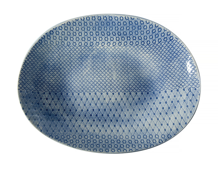 Pebble Oval Blue Lace, Serving Dish - Wonki Ware Australia