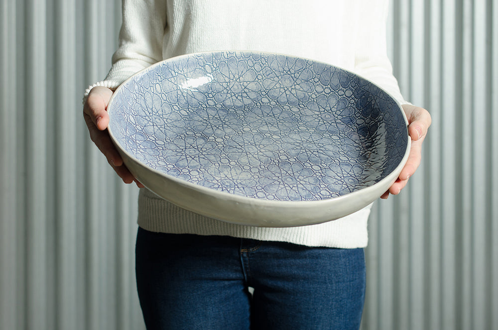 Pie Dish Duck Egg Lace