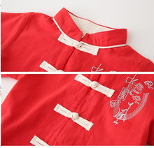 TZ048 Boys Traditional Chinese Embroidered Red Kungfu Top Shirt & Pants Set