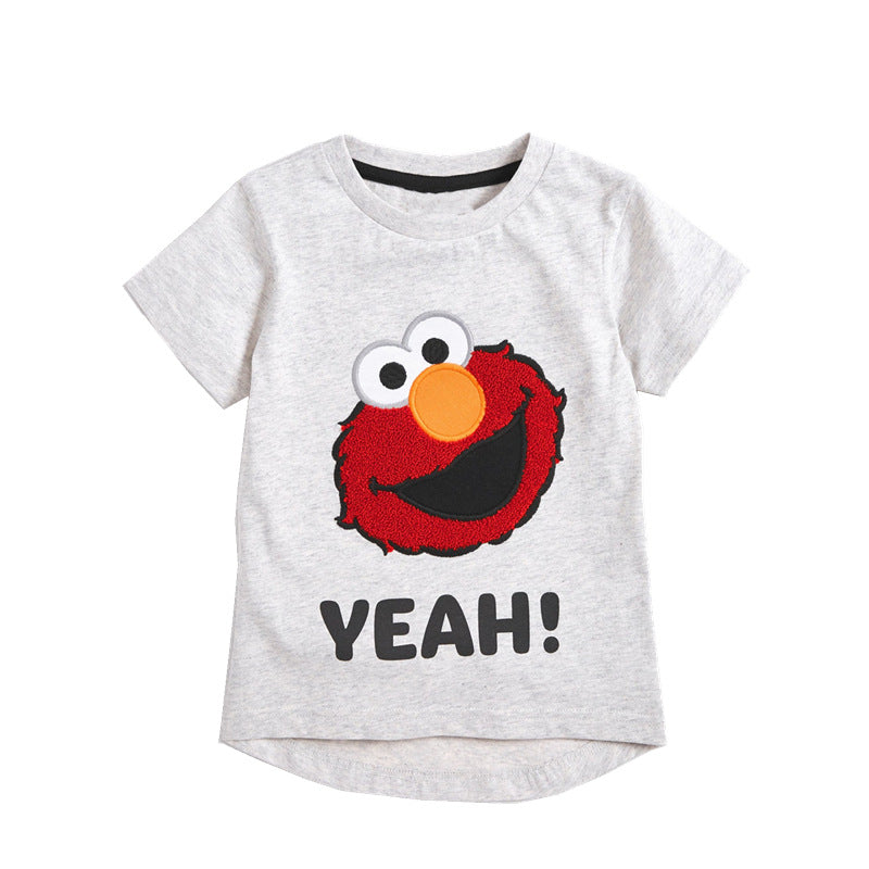 JB027 Toddler Boys Grey Elmo Tee T-shirt Top