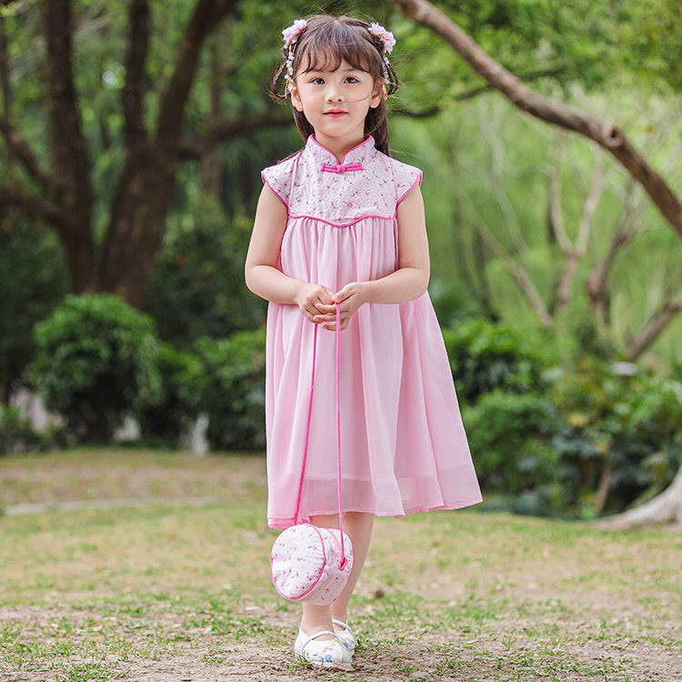 CS103 Girls Pink Florals Traditional Qipao Cheongsam Dress Mandarin collar with Sling Purse Bag [Little Gems SG}