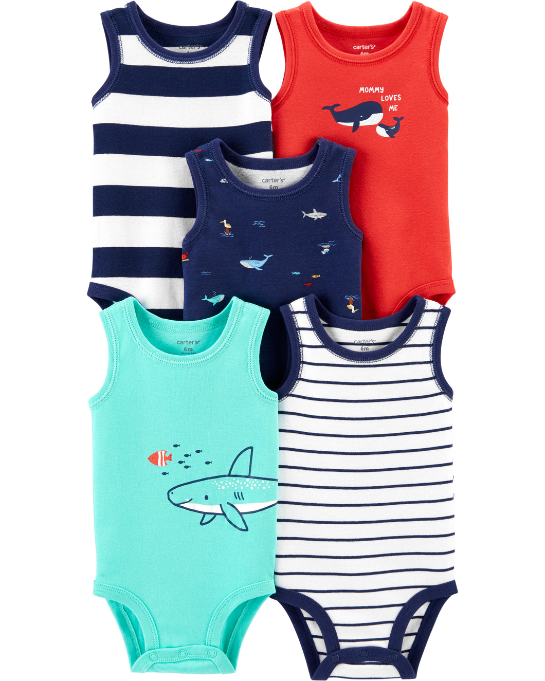 CABY167 Carter's Baby Boys 5-Pack Whale Tank Bodysuits