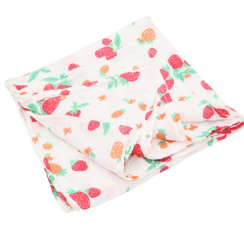 CH003 Infant Muslin Swaddle - Strawberries