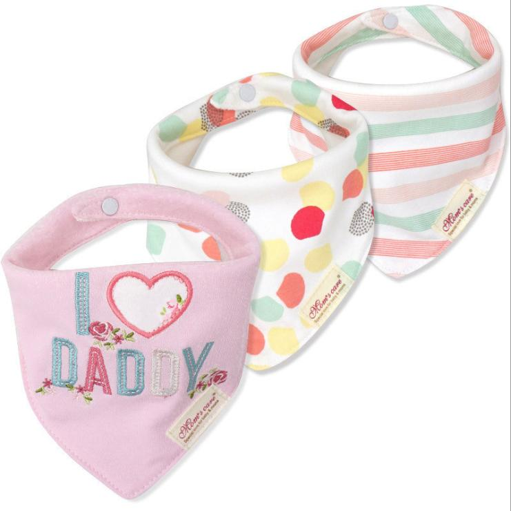 BB060G Mom's Care Set of 3 Baby Bandana Bibs - I  Love Daddy