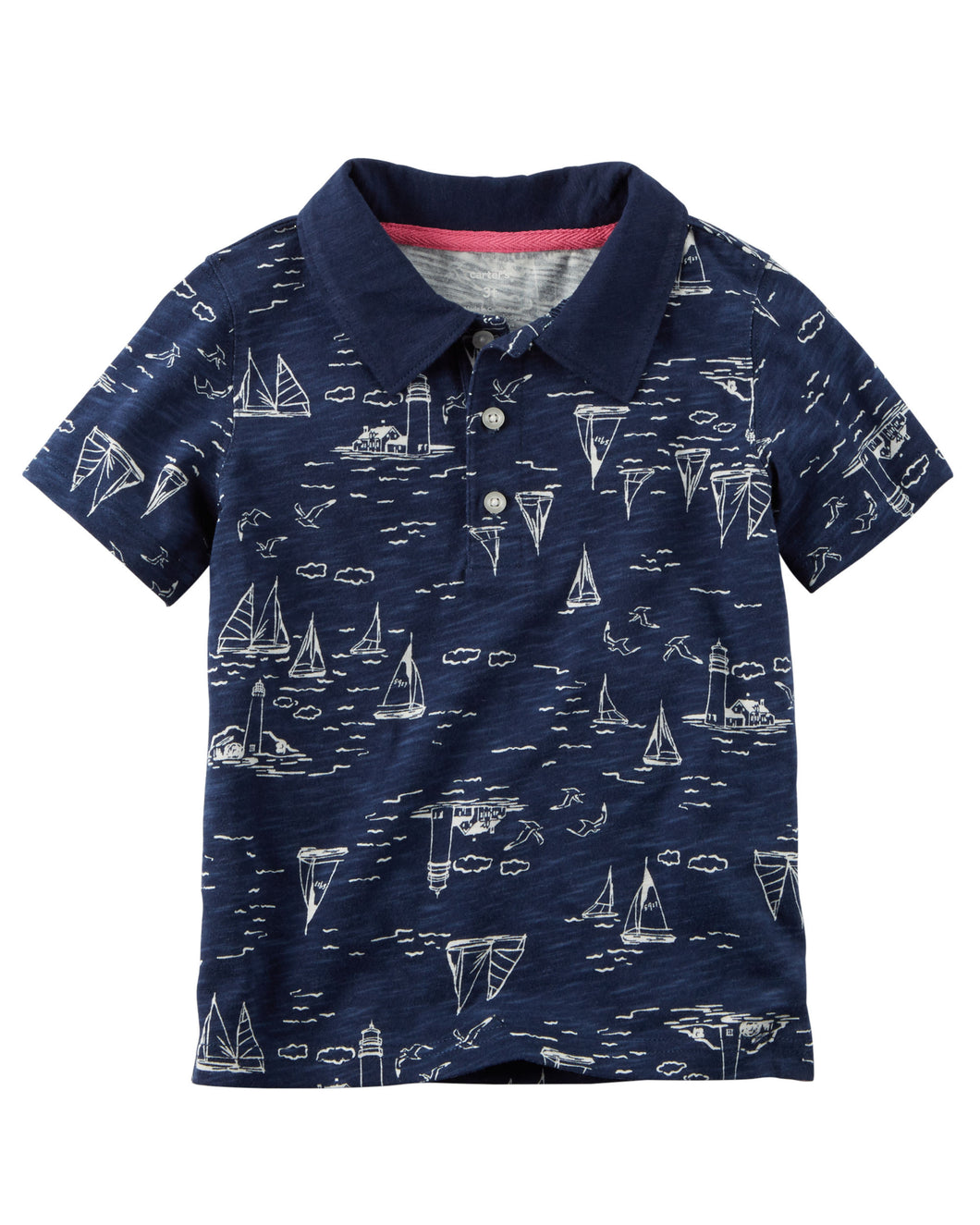 CABY086 New Baby Boys Carter's Sailboat Slub Jersey Polo