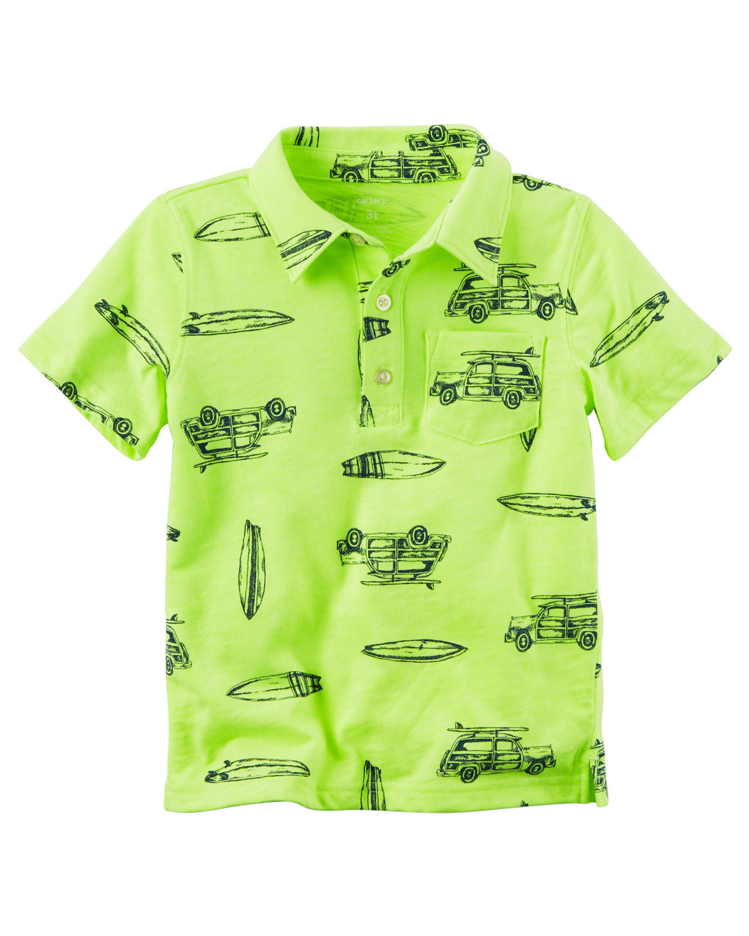CABY085 New Baby Boys Carters Neon Slub Jersey Polo