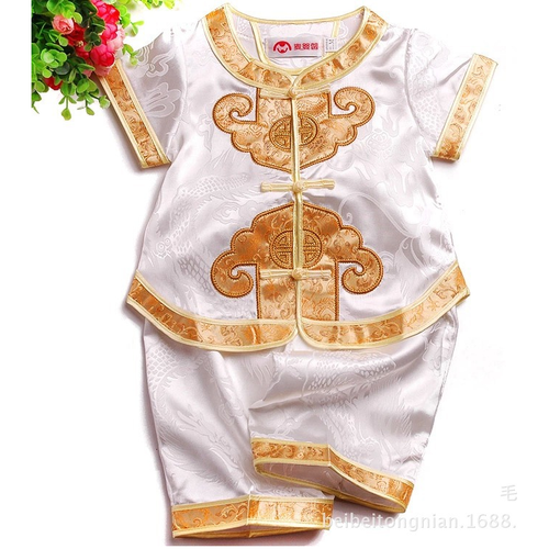 TZ009 Boys Girls Unisex CNY Traditional 2 Pc Set White