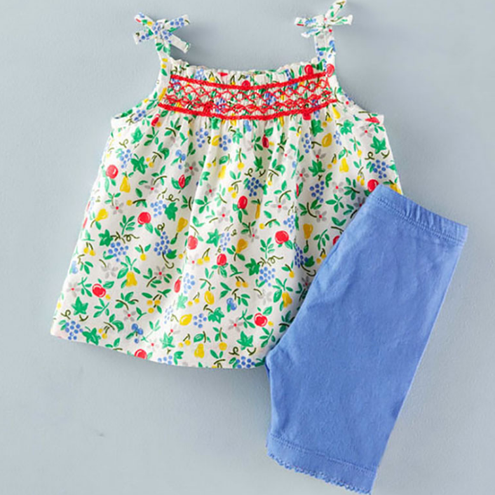 LM033 Girls 2 Pc Smocked Babydoll Top & Shorts Set