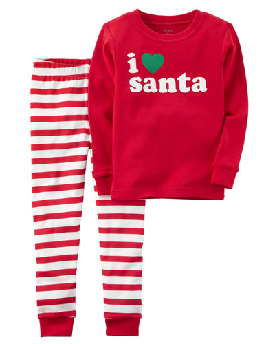 CABY108 Carter's 2-Piece Santa Snug Fit Cotton PJs