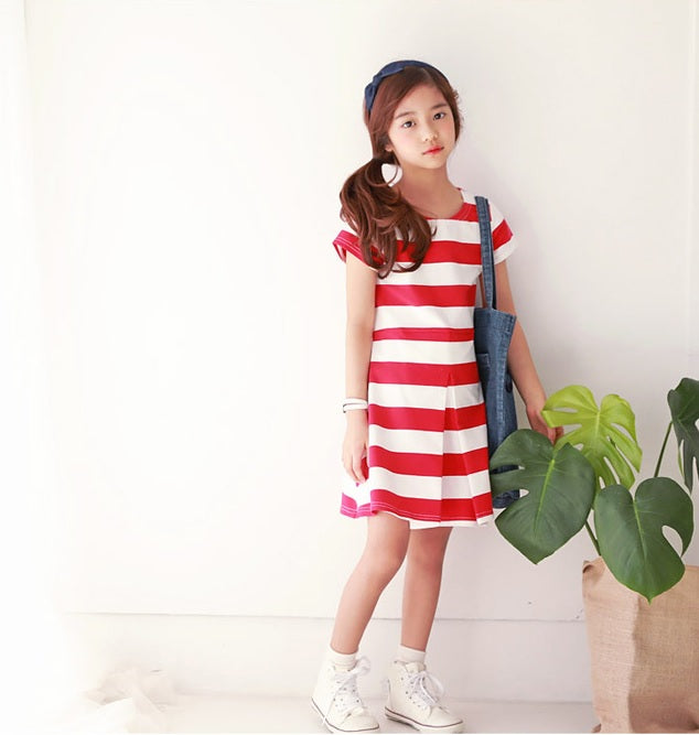 MME3912 Girls Red Striped Pleated Dress (Mom's Size Avail)
