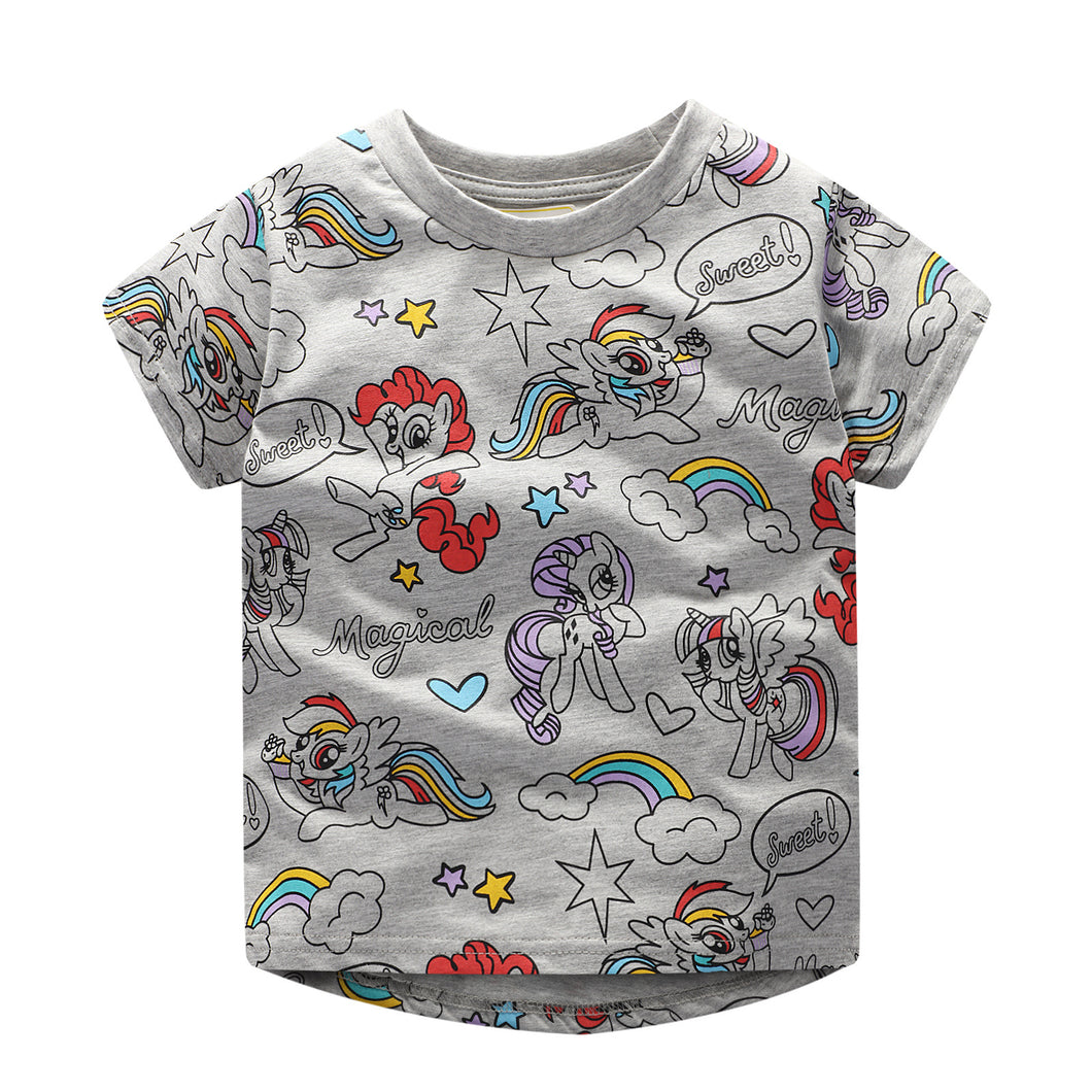 JB021 Toddler Girls Grey Little pony Tee T-shirt Top
