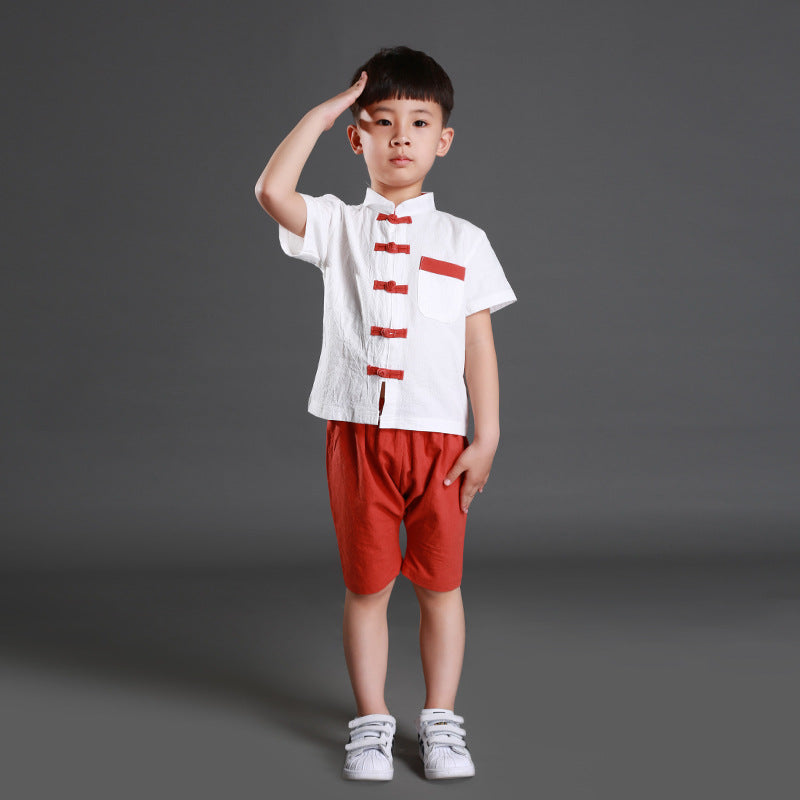 TZ035A Boys Traditional Chinese 2 pc Kungfu Set Red