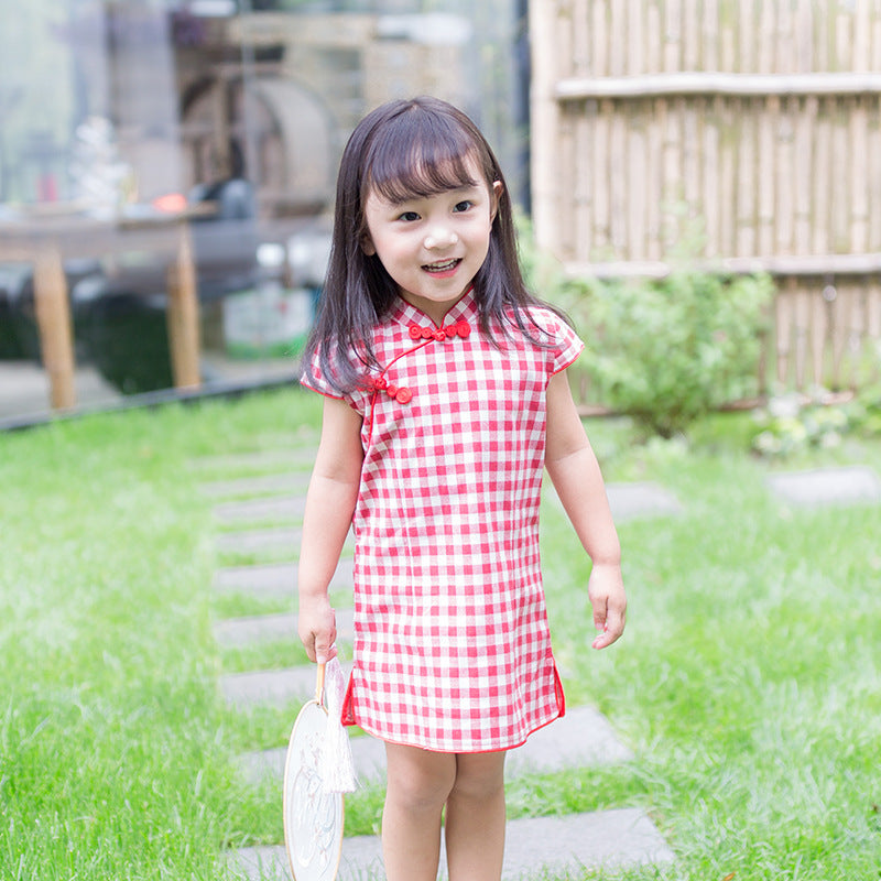 CS080 Girls Red Gingham Traditional Chinese Dress Cheongsam Qipao