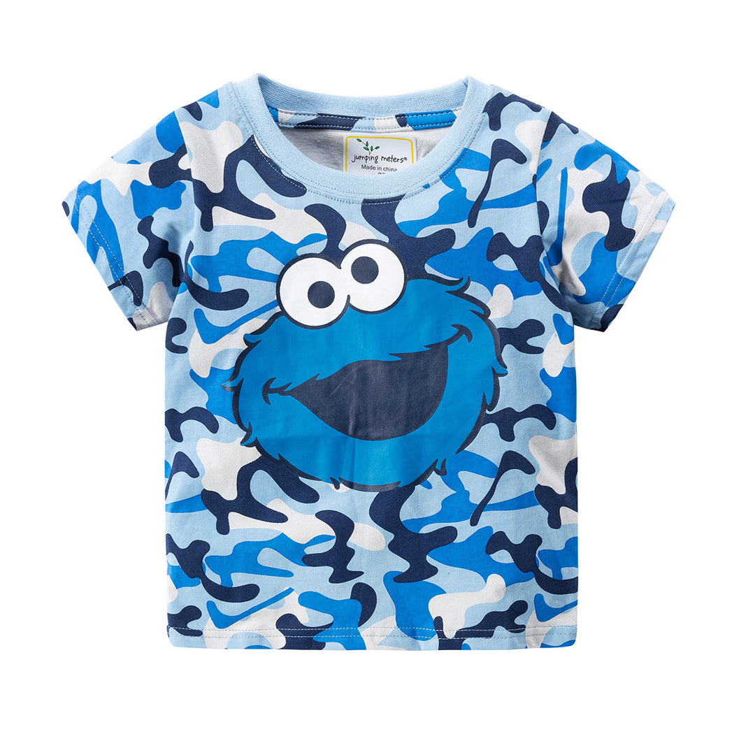 JB022 Toddler Boys Blue Camo Cookie Monster Elmo Tee T-shirt Top