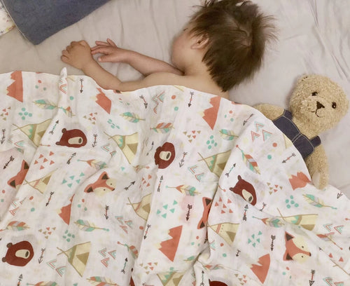CH015 Infant Muslin Swaddle - Foxes & Bears