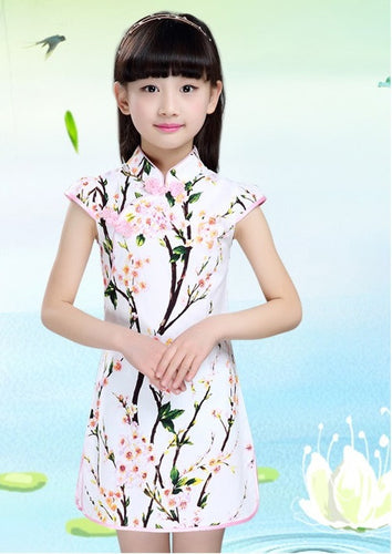 b0c7da143ab CS048 New Girls Chinese Traditional Floral Cheongsam Qipao - White