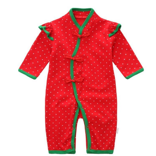 CSR006 Red Swiss Dots Chinese Knots Coveralls