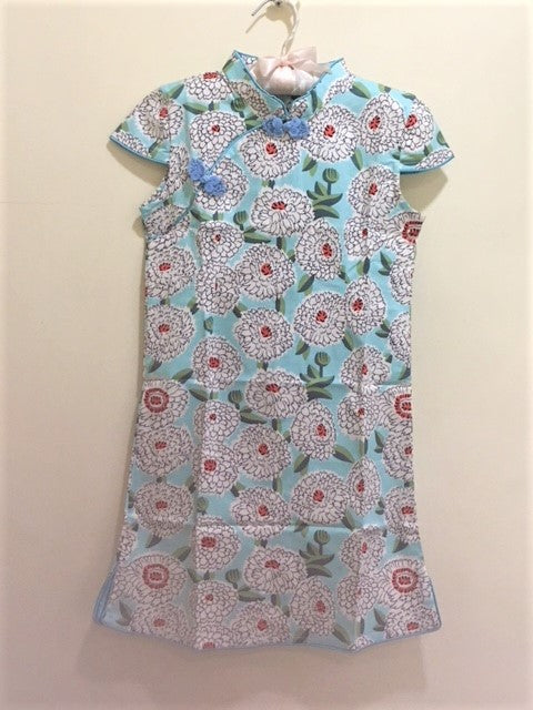 CS062 Girls Traditional Chinese Dress Cheongsam Qipao - Turquoise Peonies