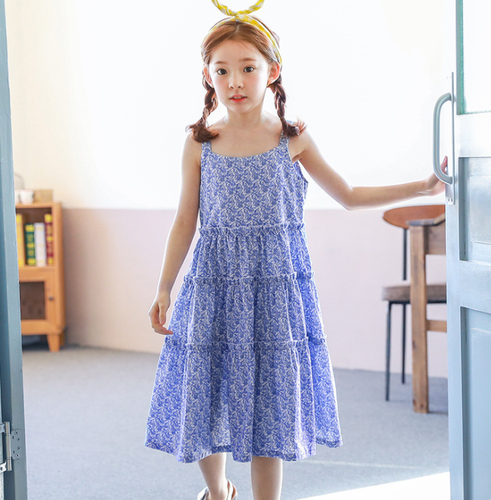 KOR074 Toddler Girls Blue Paisley Dress