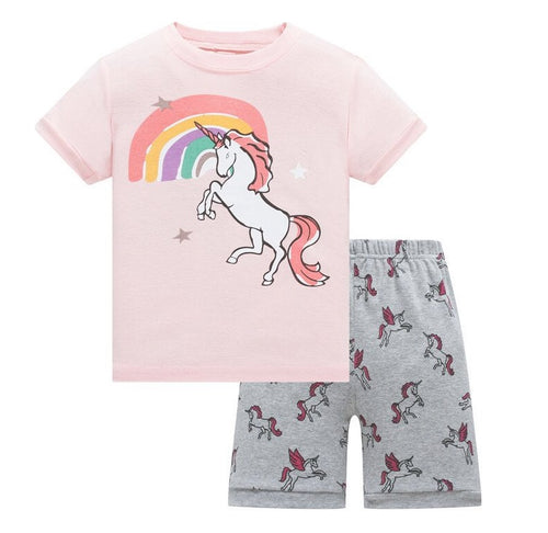 KOR131 Toddler Kids Short Pajamas PJs Sleepwear - Unicorn 3b3c7c729