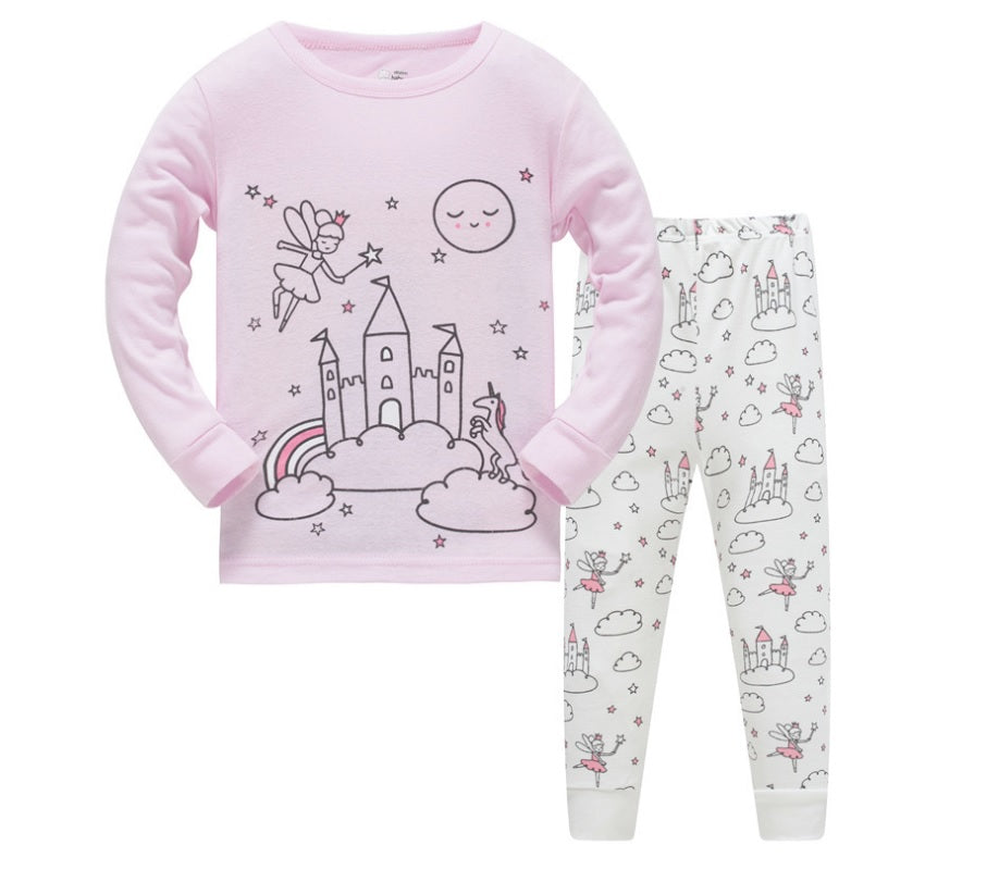 KOR143  Toddler Kids Pajamas PJs Sleepwear - Castle
