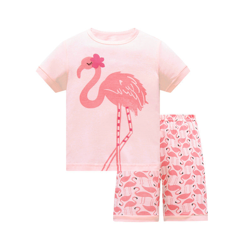 KOR149 Toddler Kids Short Pajamas PJs Sleepwear - Flamingo