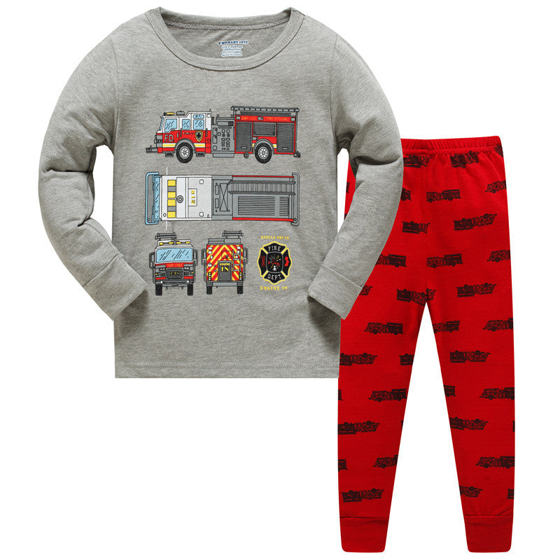 KOR155 Toddler Kids Pajamas PJs Sleepwear - Fire Engine Small