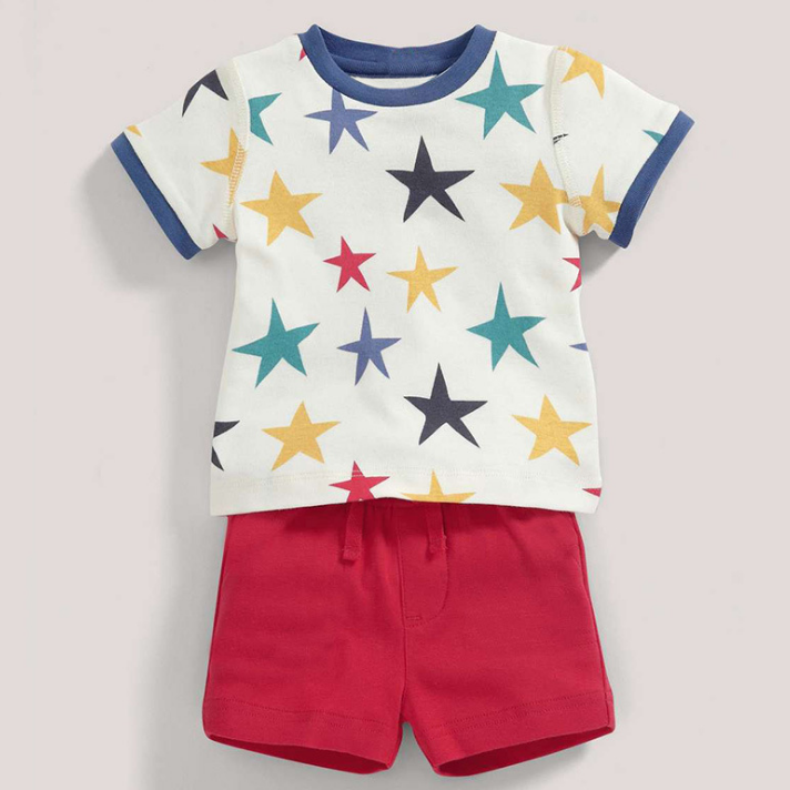 LM021 Boys 2 Pc Stars Tee & Shorts Set