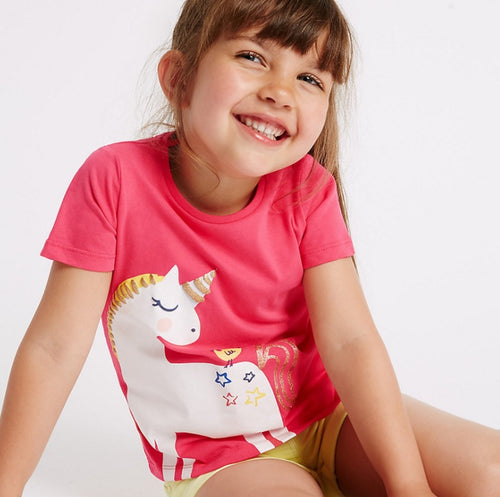 LM041 Girls Magical Unicorn Tee