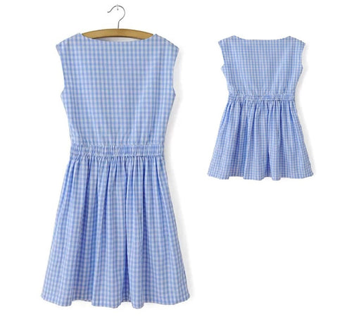 MK001 Mom & Me Blue Gingham Dress (3-7Y / Mom)