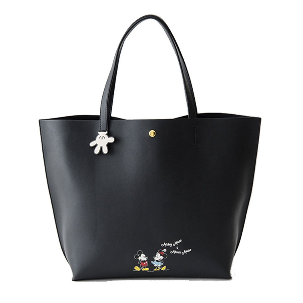 MMB02 Mickey & Minnie Faux Leather Shopping Tote Bag Black
