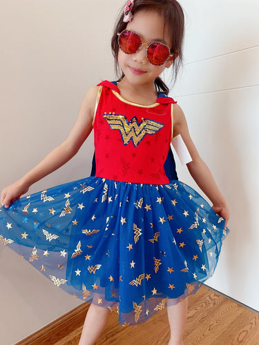 New Kids Wonder Woman Halloween Costume Cosplay Dress Set