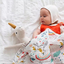 CH016 Infant Muslin Swaddle Blanket Stroller Bamboo - Rainbow & Unicorns