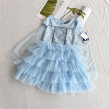 FRA010 Frozen 2 Elsa Party Dress with Ruffles and Cape - Blue [Little Gems]