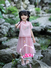 CS090 New Toddler Girls Traditional 2 Piece Skirt and top Chinese Pink Cheongsam Dress Sparrows Embroidery