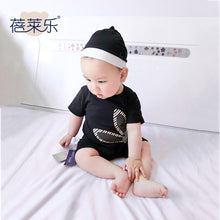 KOR086 Baby Girls Boys 2 PC Black Bunny Shortalls Romper & Beanie Set