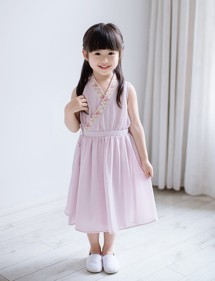 CS086 Toddler Girls Traditional Chinese Cross Over Dusty Rose Pink Cheongsam Dress