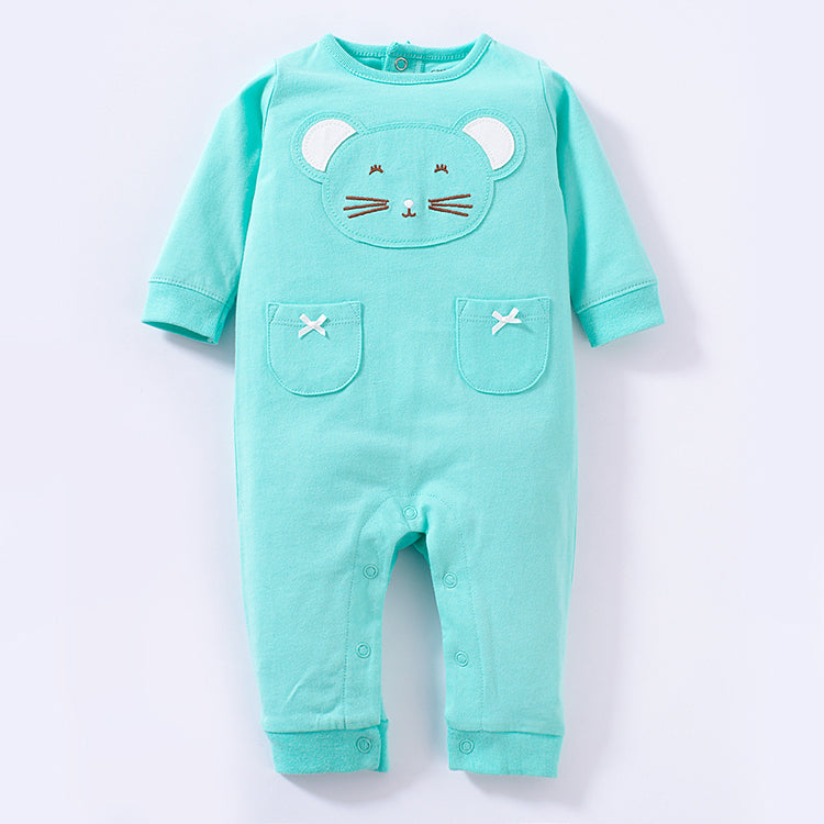 KOR084 Baby Girls Turquoise Kitty Cat Coveralls