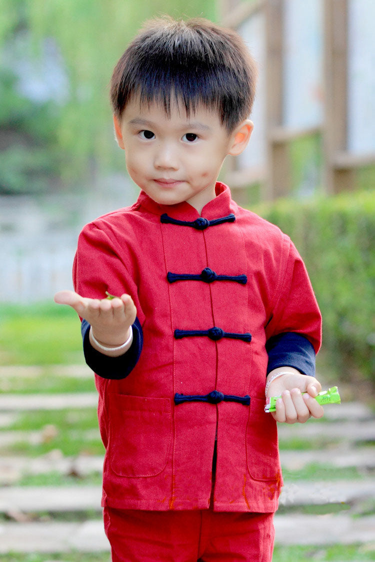TZ018 New Boys Tangzhuang Kungfu Top Red