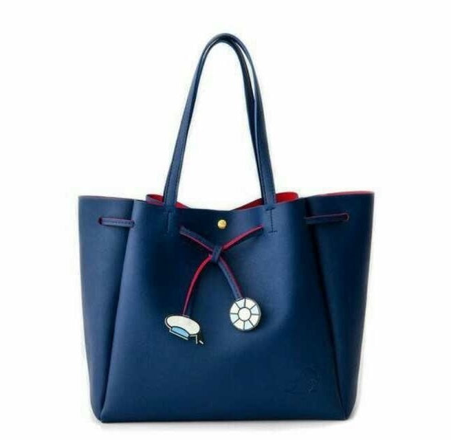 MMB01 Navy Blue Drawstring Shopper Bag with Dangles
